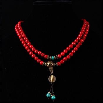 New Style Buddhist 108 Mala Prayer Bracelets 8MM Red Pine Stone Beads National Wind Women Men Yoga Meditation Necklace Wholesale 1