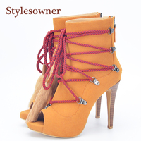 Stylesowner Fur Fringe Lady Ankle Boots Peep Toe Lace Up Extreme High Sexy Lady Party Shoe