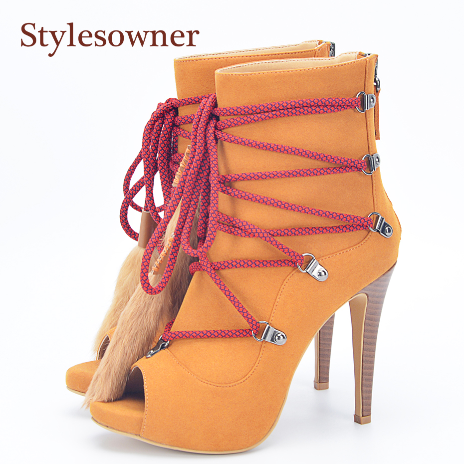 цены Stylesowner Fur Fringe Lady Ankle Boots Peep Toe Lace Up Extreme High Sexy Lady Party Shoe Unique Style Sandal Bootie