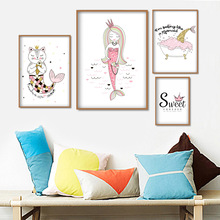 Mermaid Princess Cat Fish Wall Art Canvas Painting Cartoon Nordic Posters And Prints Pictures For Kids Room Girl Bedroom