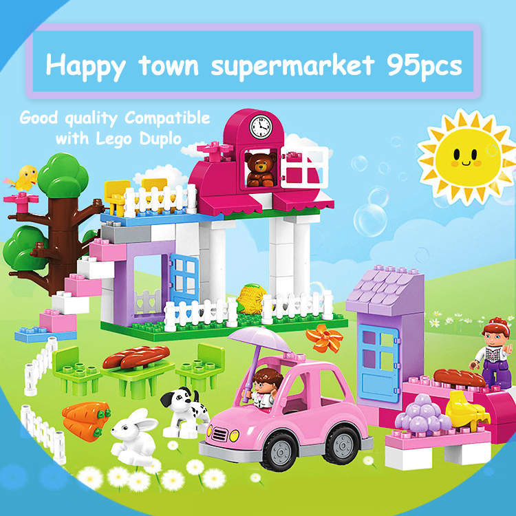 95PCS Happy Town building blocks DIY Early Learning Baby girls toys self-locking bricks educational toys compatible with dduplo 95pcs happy town building blocks diy early learning baby girls toys self locking bricks educational toys compatible with duplo