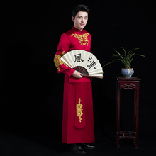 Traditional red Chinese Wedding clothing Vintage Groom Cheongsam male hanfu Embroidery Oriental stand collar tang suit sets цена