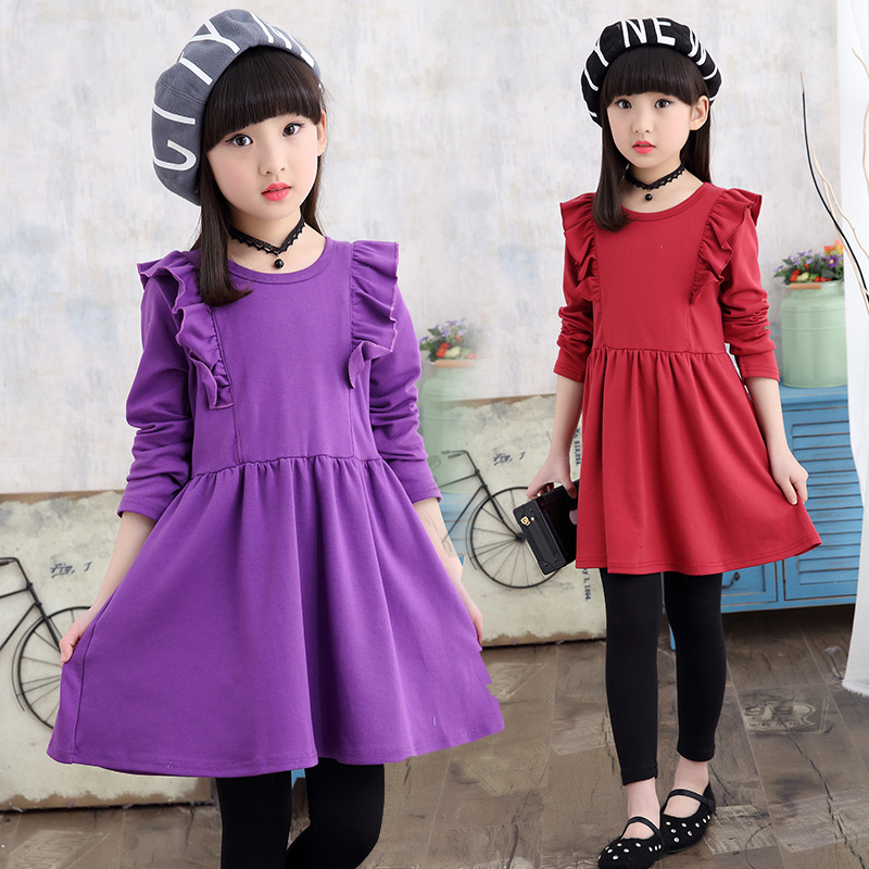 4 <font><b>5</b></font> 6 7 8 9 10 11 Years New Girls Spring Long Sleeve Purple Red Pink Cotton A-Line Pleated Shirt Dress For Girls Casual Dress image