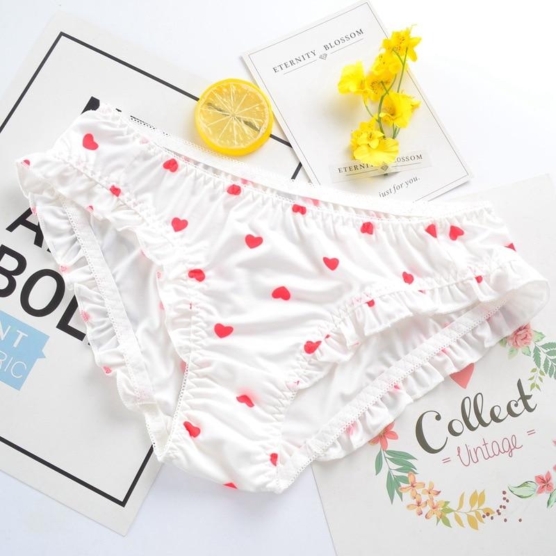 Milk Silk Heart Japanese Style Cute Women Underwear Sweety Lovely Style Girl Panties Soft Silky Feeling Lady Breifs  Knickers