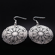2017 New Design Flower Silver Color Stainless Steel Drop Earrings for Women Big Hollow Round Earrings Jewelry brinco boho E1683B