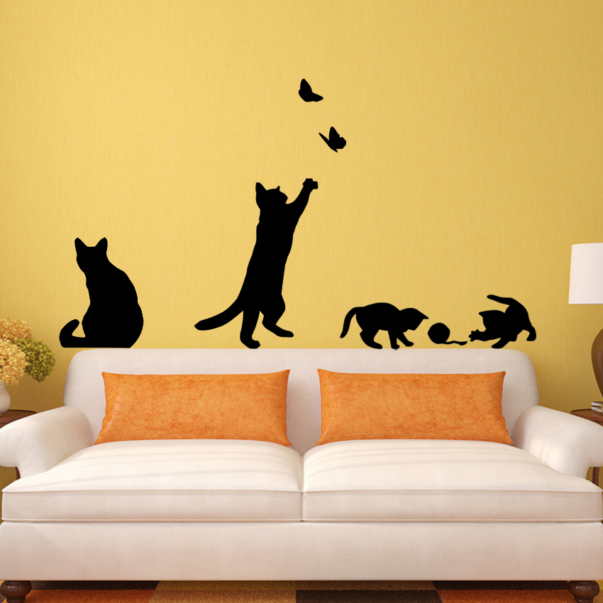 Cat and Butterflies Wall Sticker 2