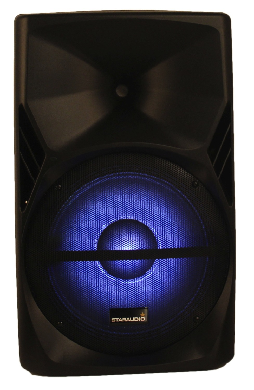 STARAUDIO 15 3500W PA DJ Stage Powered Active MP3 SD FM RGB Karaoke Speaker with Stand 2CH UHF Handheld Mic SPS-15RGB