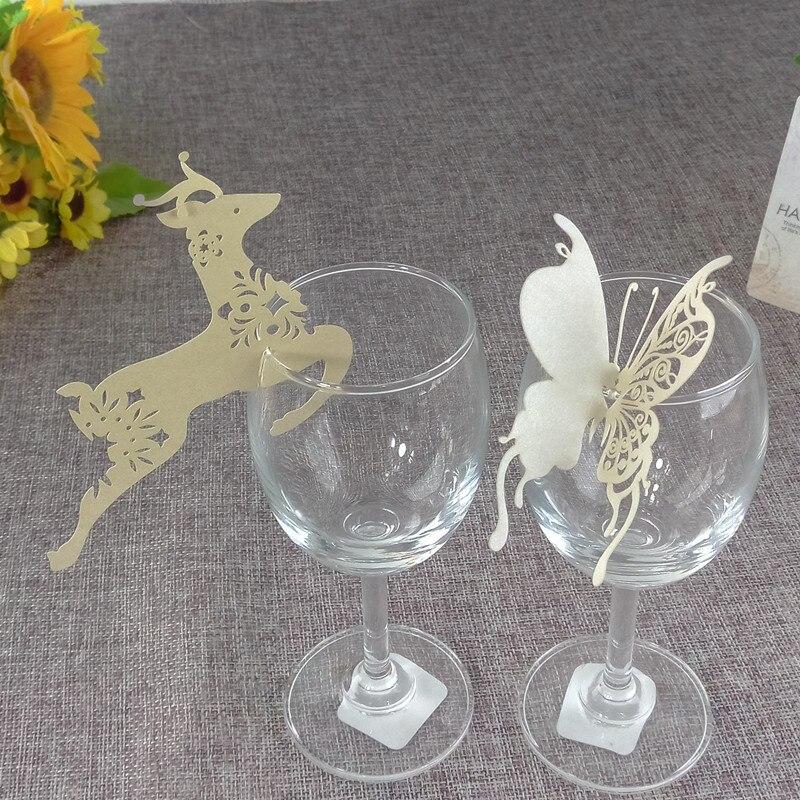 20 Stks Lasersnijden Vlinder Bloemen Herten Wijnglas Kaart Tafel Naam Plaats Escort Cup Card Partij Bruiloft Verjaardag Decor 6zb26