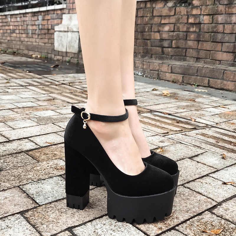 Gdgydh İlkbahar Sonbahar Seksi Platformu Kadın Pompaları Ayakkabı Kadın Kalın Yüksek Topuklu Ayakkabılar Kadın Siyah Kauçuk Taban Süet Platform ayakkabılar