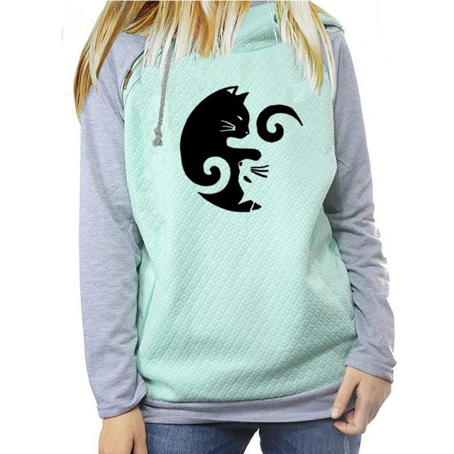 Cat Print Pullover Hooded Sweatshirt
