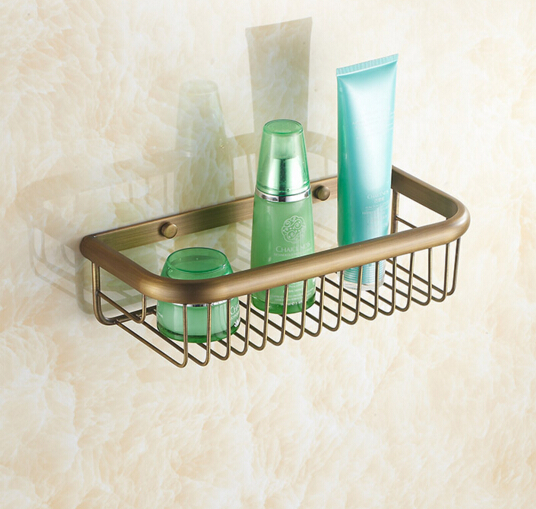 Top high quality total brass material antique bronze bathroom shelves basket holder bathroom soap holder bathroom accessories top quality brass antique bronze double tiers bathroom shelves basket holder bathroom soap holder bathroom shampoo shelf