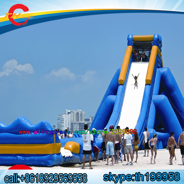 US $5700 0 |free air shippin to door,15x8x7mH large inflatable beach pool  slide,giant inflatable water slide for adult-in Inflatable Bouncers from