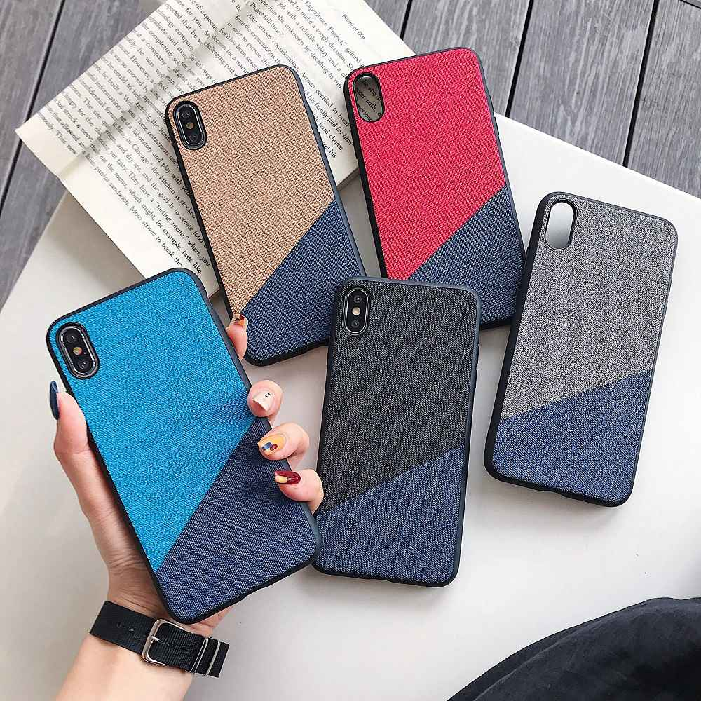 Luxury Case For iPhone 6 6s 7 8 Plus Cloth Cover For iPhone XR XS Max X For Apple iPhone 6s xs max Candy Color Tpu Matte Coque in Half wrapped Cases from Cellphones Telecommunications