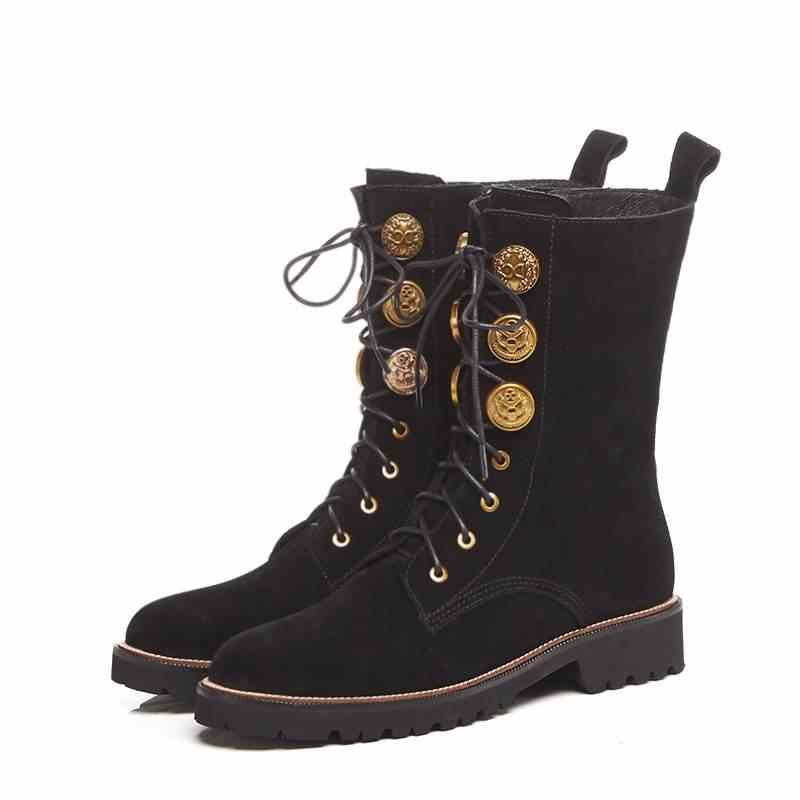MoonMeek HOT 2020 แฟชั่นหนังวัวหนังนิ่มรองเท้าบูทรอบ toe ข้อเท้ารองเท้าผู้หญิงส้น zipper ลูกไม้ขึ้นฤดูหนาวรองเท้า