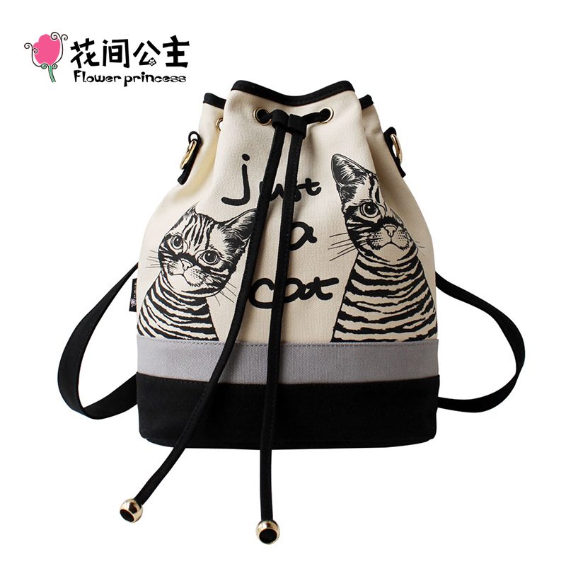 Flower Princess Brand Women Spanish Canvas Bucket Bag Dames Retro Kat Bedrukt Schoudertassen Dames zak een kat