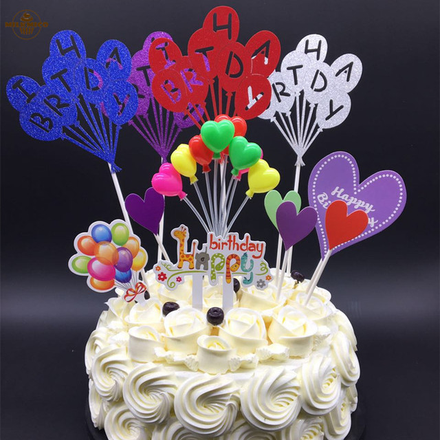 Balloon Series Birthday Theme Cupcake Pick Kids Happy Toppers For Party Wedding Decoration Cake Topper Supplies