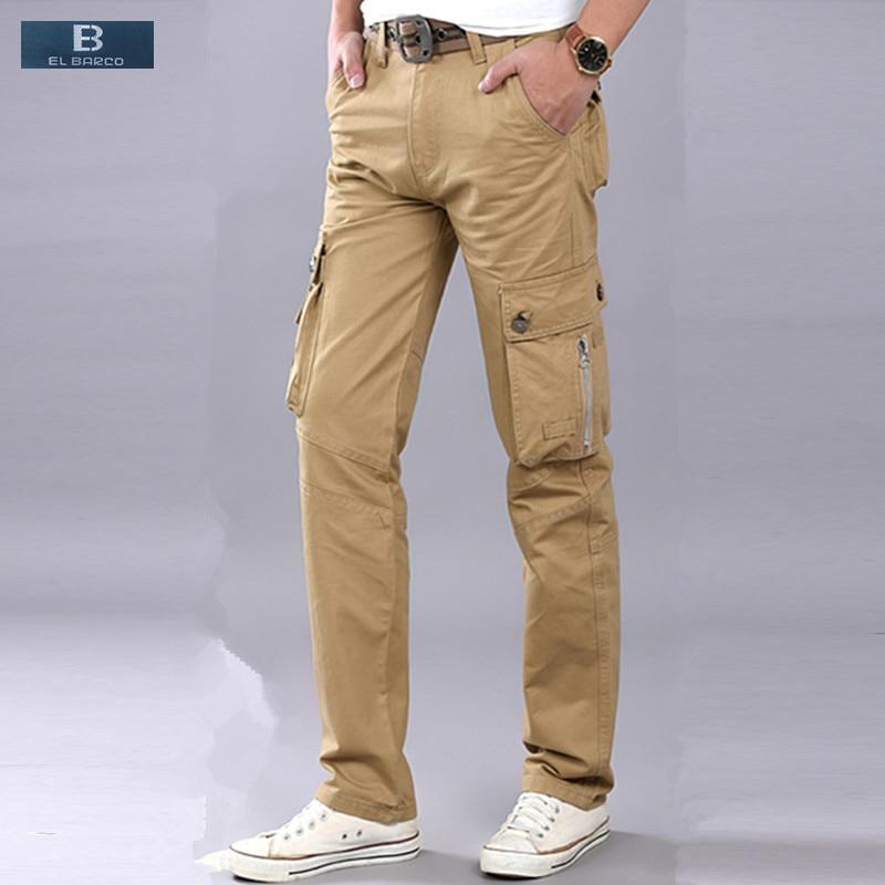 el Barco Winter Cotton Fleece Casual Pants Cargo Men Warm Soft Military Green Black Khaki Zipper Male Long Trousers Plus Size Cargo Pants