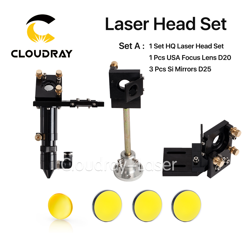 Cloudray HQ CO2 Laser Head Set + 1 Pcs Focus Lens D20 + 3 Pcs Mirrors D25 for Laser Engraving Cutting Machine