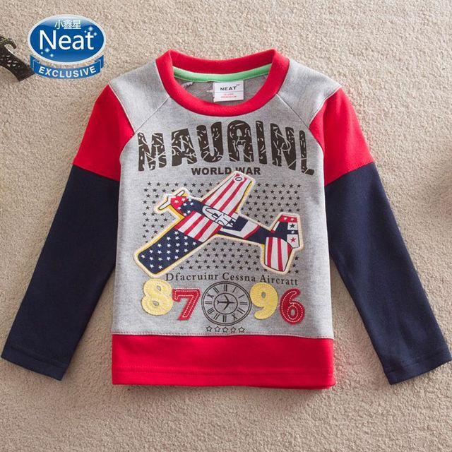 NEAT 2016 novas camisetas Aeronaves bordado t camisa dos desenhos animados do bebê menino roupas de manga longa crianças roupas crianças usam L869 #