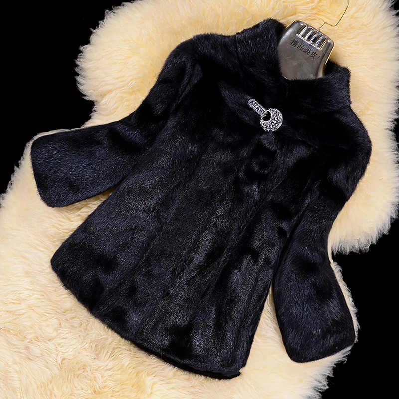 ミンクの毛皮のコート女性オーバーコートショートデザインのスタンド襟テンフェイクファージャケット女性冬コート 2018 プラスサイズ 5XL 6XL