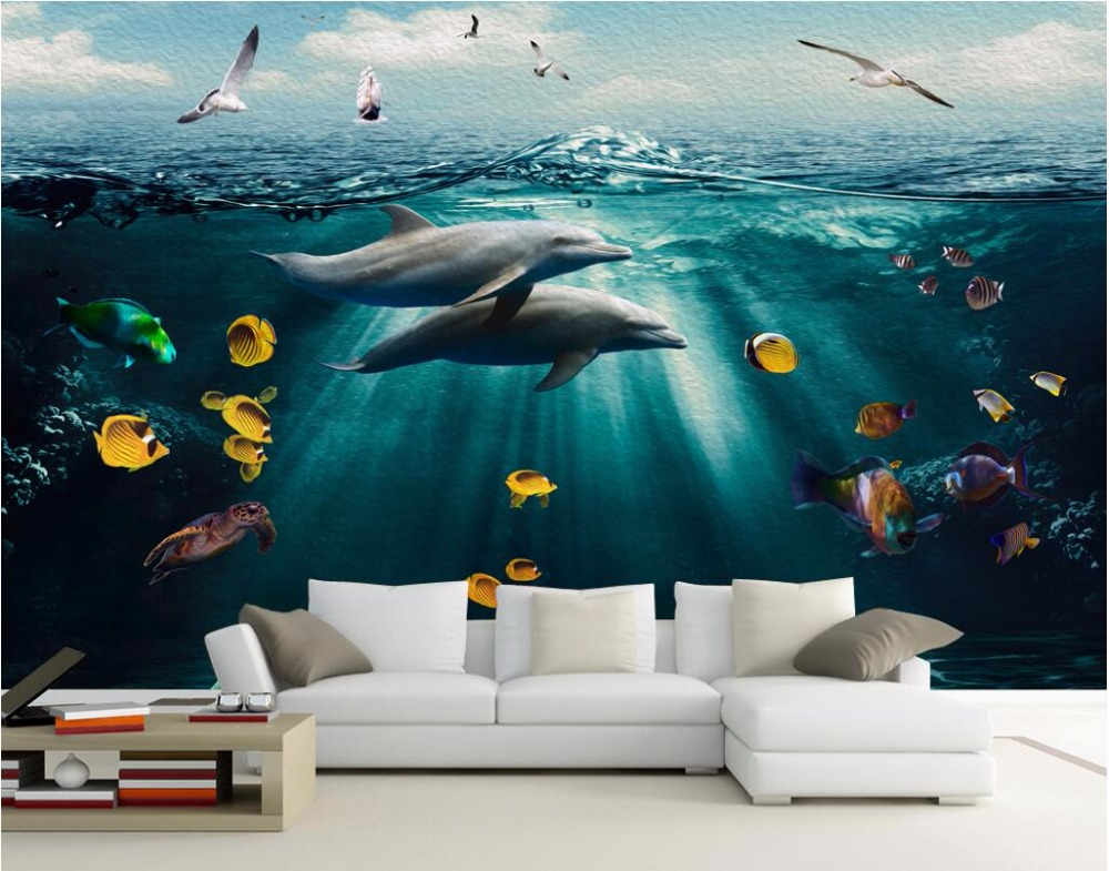 3d room wallpaper landscape custom mural undersea world for Custom wall mural from photo