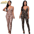 Adogirl Women Strapless Bodycon Jumpsuits 2017 Summer Gold/Champagne Geometric Sequin Rompers Sexy Backless Jumpsuit Clubwear