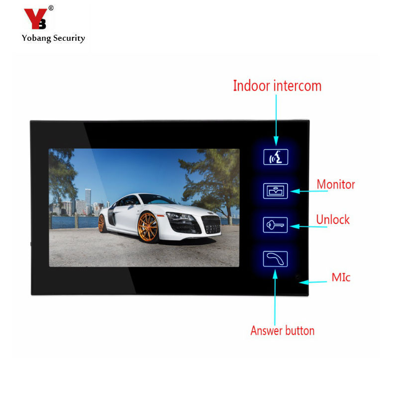 Yobang Security Freeship  7-inch Monitor For Video Doorphone Doorbell Only Indoor Machine For Door Intercom