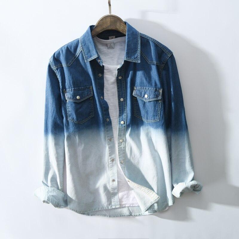 2018 New Arrival Men Fashion Summer Vintage Gradient Color Denim Long Sleeve Shirt Male Casual Cotton Denim Shirt Import Clothes