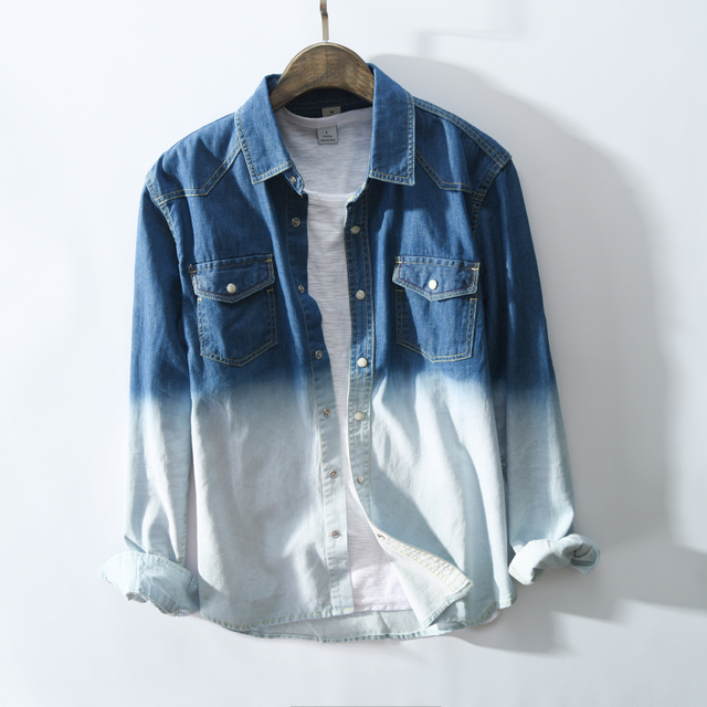 Vintage Gradient Color Denim Long Sleeve Shirt