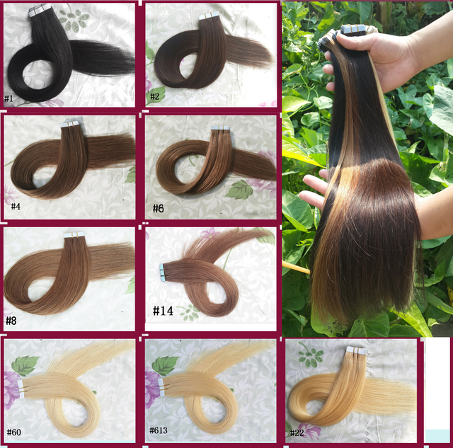Tape In Human Hair Extensions Pu Skin Weft Brazilian Remy Human Hair