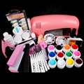 Hot Pro 9W UV GEL Pink Lamp & 12 Color UV Gel Nail Art Tool Kits Sets #34set