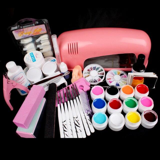 Hot Pro 9W UV GEL Pink Lamp & 12 Color UV Gel Nail Art Tool Kits Sets #34set