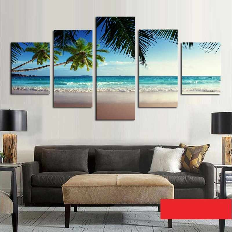 Pictures Frame Home Decor Printed Poster 5 Pieces Coconut Tree Blue Sky And Ocean Beach Seascape Wall Art Canvas Painting PENGDA