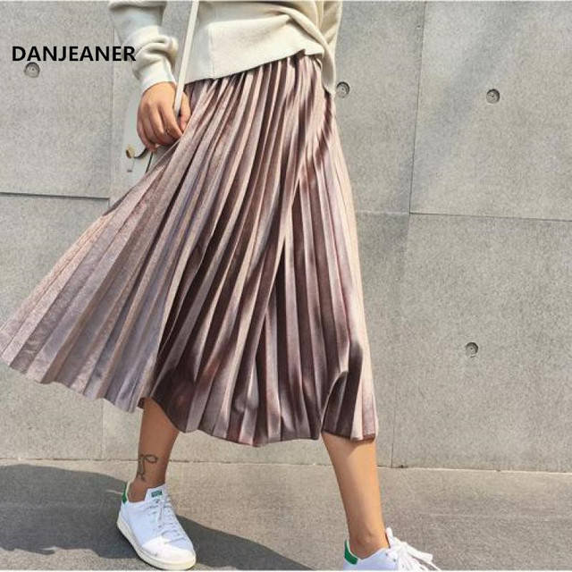 Danjeaner Spring Women Long Metallic Silver Maxi Pleated Midi Skirt High Waist Elascity Casual Party Vintage