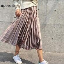 Danjeaner primavera 2019 mujeres largo metálico plata Falda plisada grande Midi falda de cintura alta Elascity Casual partido falda Vintage