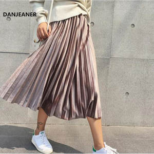 Danjeaner Pleated Skirt Maxi Spring Silver Metallic Long Vintage High-Waist Casual Elascity