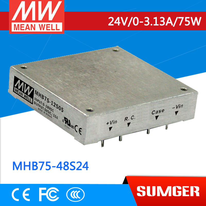 1MEAN WELL original MHB75-48S24 24V 3.13A meanwell MHB75 24V 75W DC-DC Half-Brick Regulated Single Output Converter