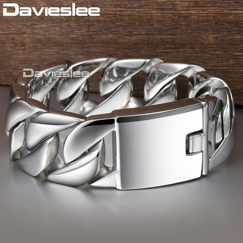 Davieslee 24mm Heavy Hiphop Men's Bracelet 316L Stainless Steel Wristband Male Jewelry Curb Cuban Link Chain DLHB01 20mm heavy jewelry 316l stainless steel silver gold black cuban curb chain mens bracelet bangle 8 5 high quality male wristband