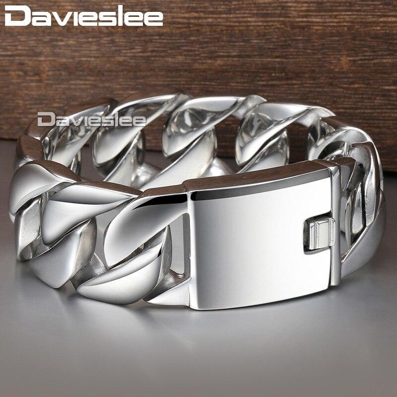 Davieslee 24mm Lourd Hiphop Hommes de Bracelet En Acier Inoxydable 316L Bracelet Mâle Bijoux Curb Chain Cuban Link DLHB01