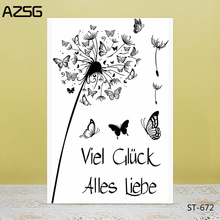 AZSG Dandelion Butterfly Clear Stamps/Seal For DIY Scrapbooking/Card Making/Album Decorative Silicone Stamp Crafts