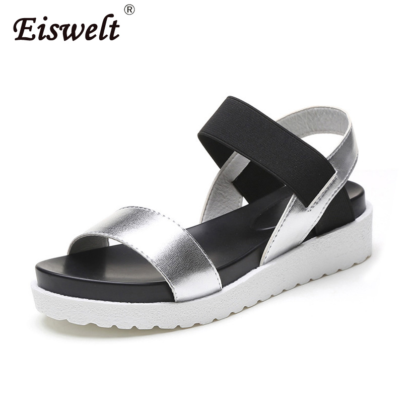 EISWELT Summer Gladiator Women Shoes PU Leather Sandals Ladies Shoes Peep-toe Flat Shoes Woman Sandalias Female Mujer Sandalias summer new casual flat women sandals fashion wedges mixed colors women sandals comfortable peep toe sandalias woman shoes mujer