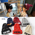 hats for girls 2016 new autumn and winter hats for children 3-12 years old needle cap letter New york beaded stretch wool cap