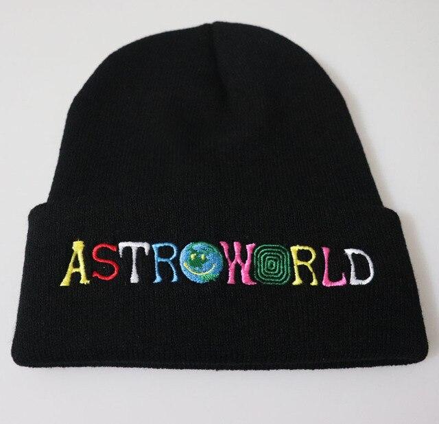 92ad72b77 US $3.65 |Unisex Travi$ Scott ASTROWORLD Beanie Knit Cap Embroidery Winter  Warm Travis Scott Skullies Beanie Hat Baby Kids Christmas Gift-in Hats & ...