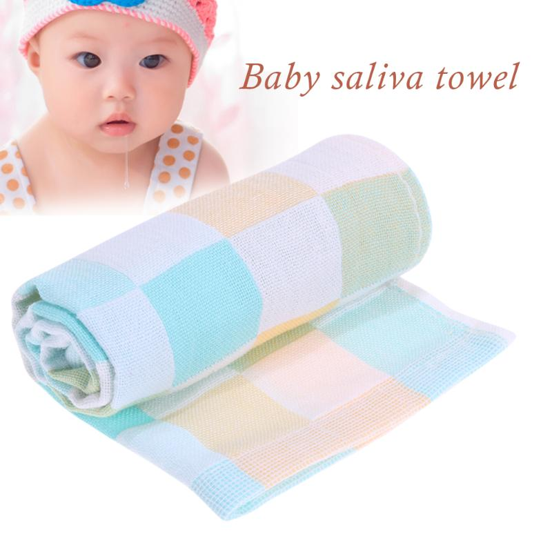 Double Layers Gauze Baby Feeding Bids Towel Cotton Baby Bibs Infant Plaid Towel For Newbron Bid Scarf Cloth