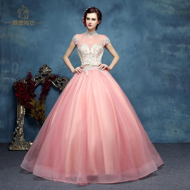 light pink beading ball gown Medieval Renaissance Gown queen costume ...