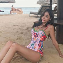 цены Asian Style Print One Piece Swimwear Women Designer Push Up Bathing Suit 2019 Female Sexy Swimsuit One-piece Print Beachwear