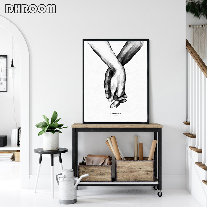 HTB1wQEFM9zqK1RjSZFjq6zlCFXaO Nordic Back White Style Sweet Love Wall Art Canvas Poster Minimalist Print LOVE Quotes Painting Picture for Living Room Decor
