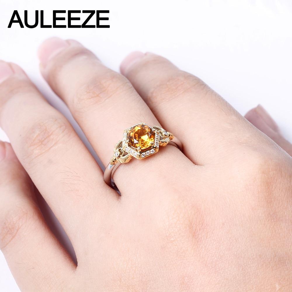 1CT Natural Citrine Ring 10K Yellow Gold Engagement Ring Honeycomb ...