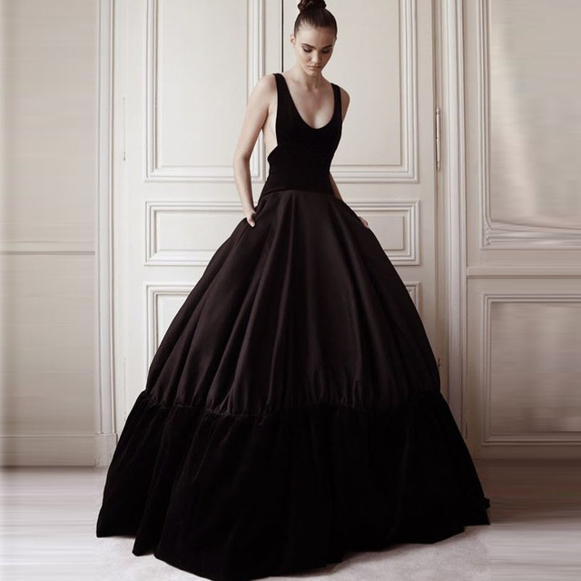 84772ce96 Vintage Black Patched Satin And Velour Ball Gowns Long Pockets Skirts For  Women To Prom Custom Made Puffy Female Skirts
