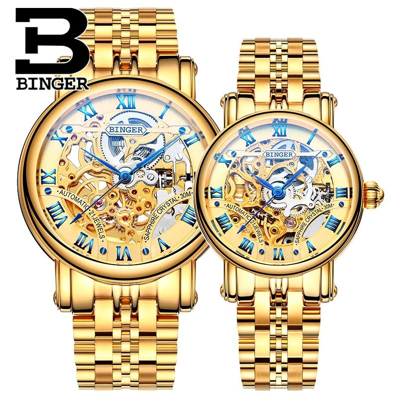 Genuine Luxury BINGER Brand Men Women Skeleton Watch Automatic Mechanical Self-wind Steel Couple Hollow Waterproof Male Female